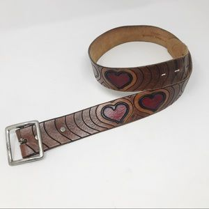 Hand tooled leather brass silver heart belt 34